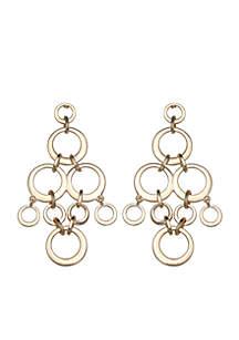 Gold-Tone Circle Cluster Drop Earrings
