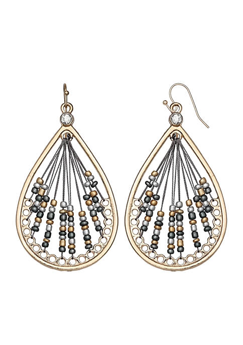 Jules B Gold-Tone Seedbead Teardrop Earrings