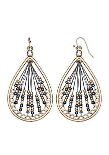 Gold-Tone Seedbead Teardrop Earrings