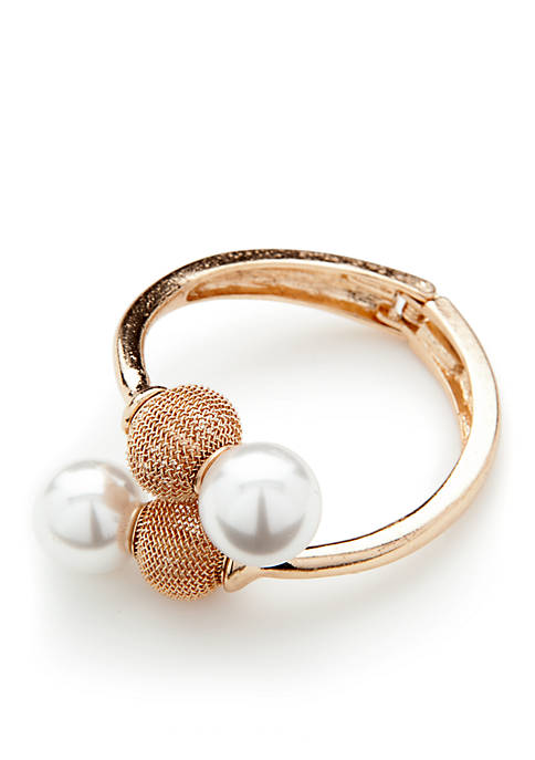 Jules B Gold-Tone Pearl Hing Bangle