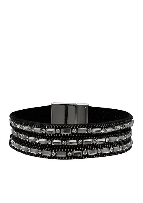 Jules B Silver-Tone 14k Grey Black Crystal Wrap