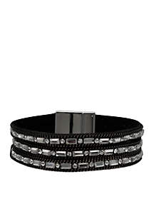 Silver-Tone 14k Grey Black Crystal Wrap Bracelet