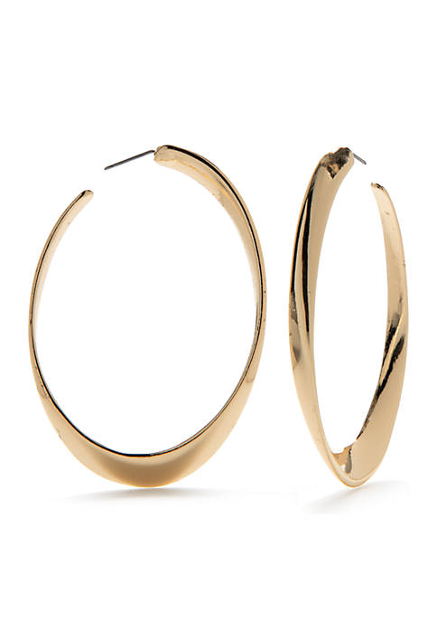 Jules B Gold Tone Oval Hoop Earrings