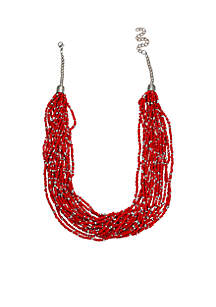 Silver Tone Red Short Solid Beaded Necklace