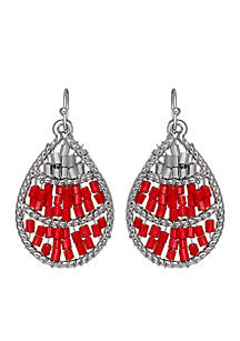 Silver Tone Red Solid Beaded Teardrop Earrings