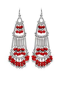 Silver Tone Red Solid Bead Chandelier Earrings