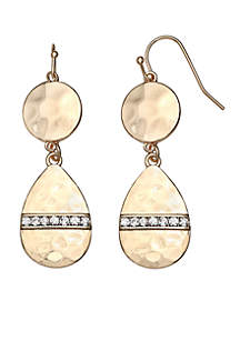 Gold Tone Hammered Two Drop Earrings