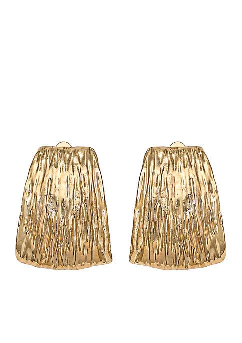 Gold Tone Texture Clip Hoop Earrings