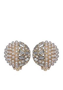 Pearl Button Clip Earrings