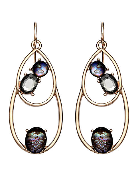 Jules B Gold-Tone Teardrop With Mother-Of-Pearl Drop Earrings