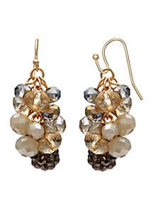 Gold-Tone Cluster Beaded Drop Earrings