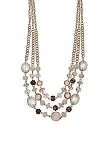 Gold-Tone Mix Bead Three Row Necklace