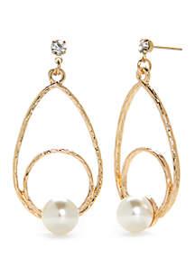 Rose Gold-Tone Wire Teardrop Pearl Earrings