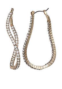 Gold-Tone Wave Crystal C Hoop Earrings