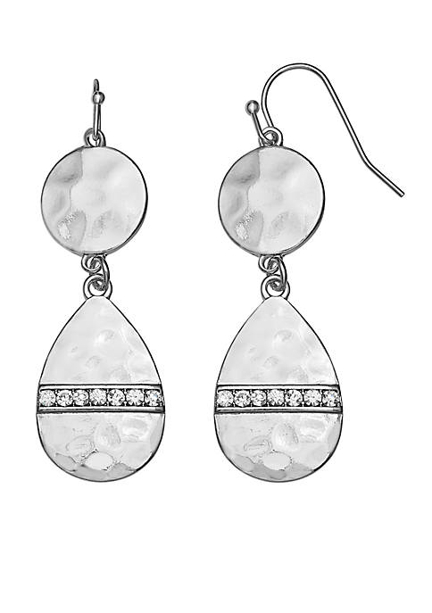 Jules B Silver Tone Hammered Two Drop Earrings