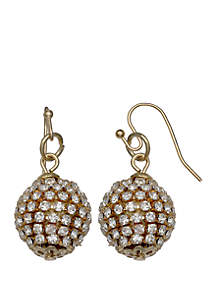 Gold-Tone Pave Ball Drop Earrings