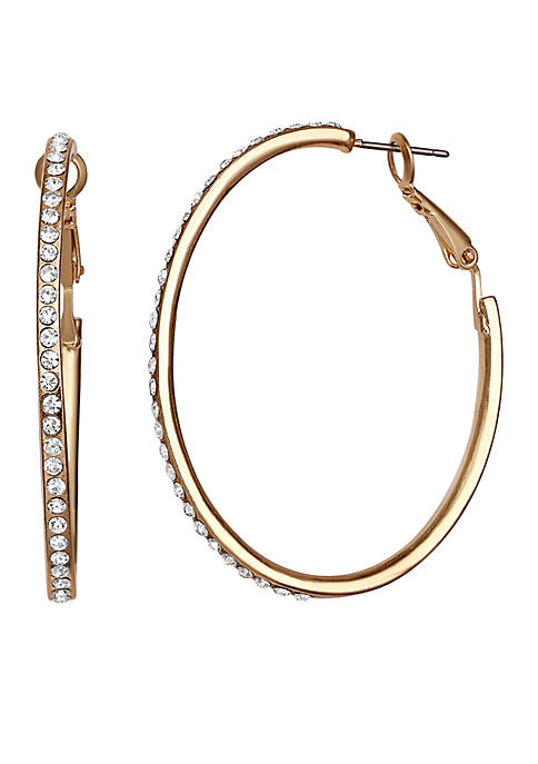 Gold Tone Crystal Round Hoop Earrings