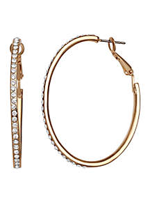 Gold Tone Crystal Round Hoop Earrings