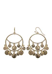 Gold-Tone 14k Grey Chandelier Earrings