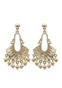 Gold-Tone 14k Grey Crescent Shaky Earrings