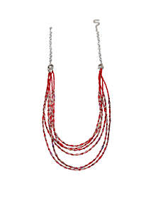 Silver Tone Red Solid Beaded Long Necklace