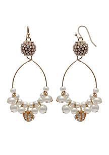 Cluster Pearl Hoop Earring