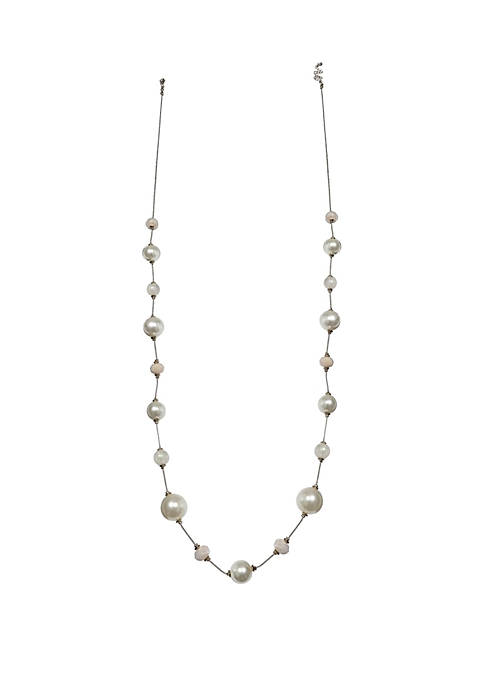 Gold-Tone Long Beaded Chain Necklace