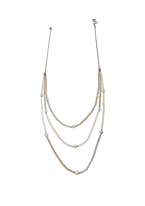 3 Row Freshwater Pearl Long Necklace