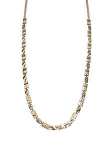 Jules B Golden Hammered Link Long Necklace
