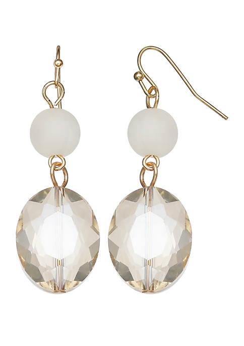 Jules B Pearl Crystal Double Drop Earrings