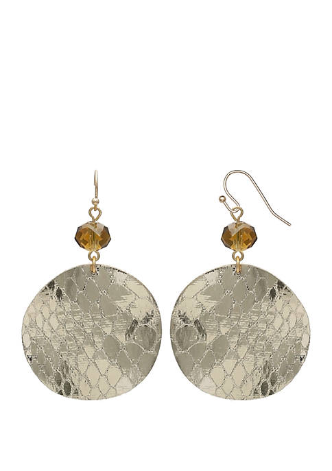Jules B Gold Tone Round Drop Earrings
