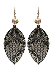 Jules B Leather Embroidered Drop Earrings