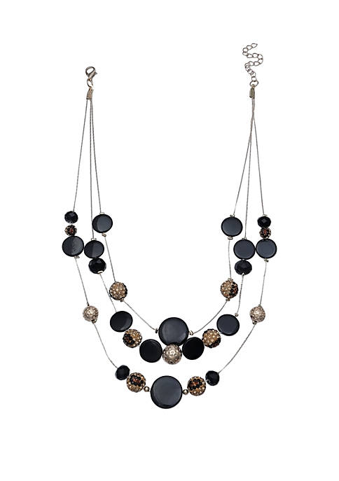 Jules B Pave Ball Shell Illusion Necklace