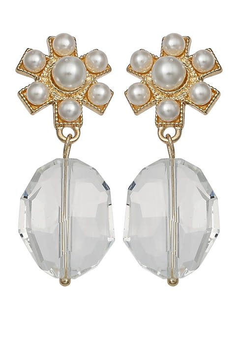 Jules B Flower Post Crystal Drop Earrings