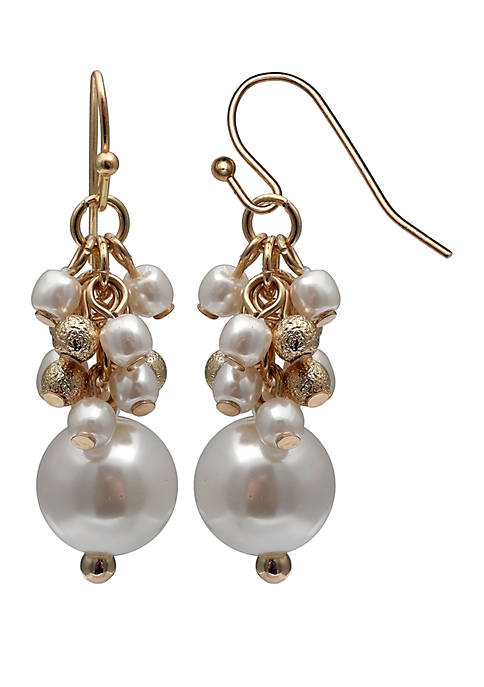 Jules B Pearl Cluster Drop Earrings