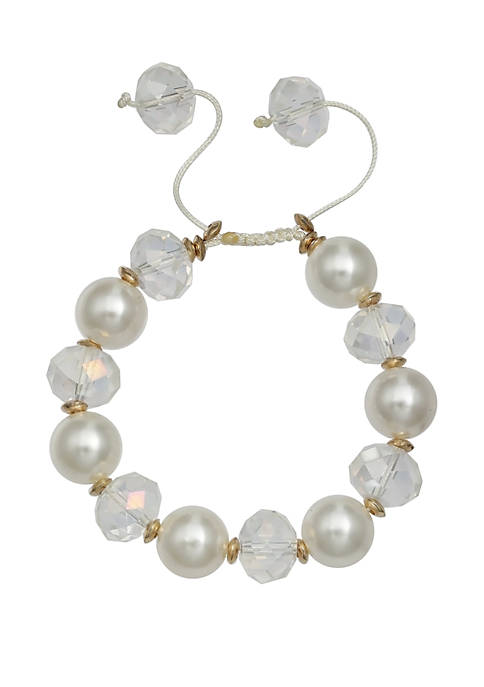 Jules B Pearl Crystal Pull Tie Bracelet