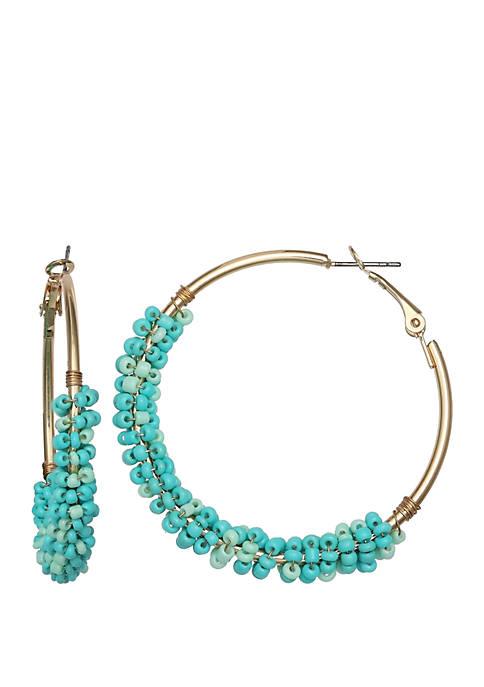 Jules B Turquoise Beaded Hoop Earrings