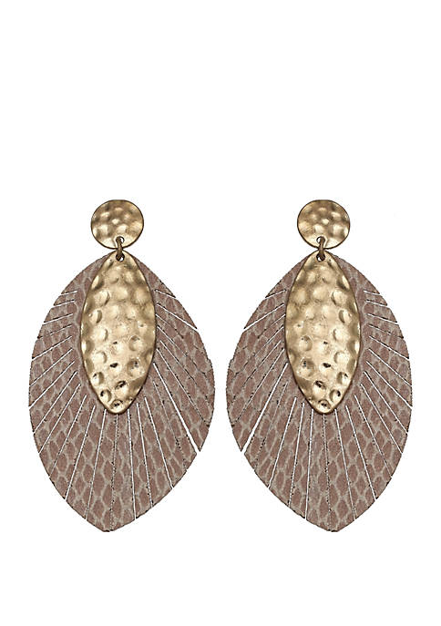 Jules B Gold Tone Leaf Earrings