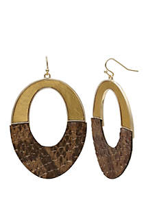 Jules B Long Oval Leather Drop Earrings