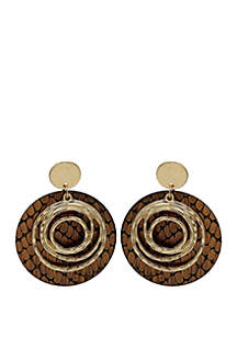 Jules B Round Leather Drop Earrings