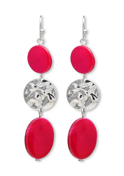 Jules B Lab Created Pink Shell Drop Earrings