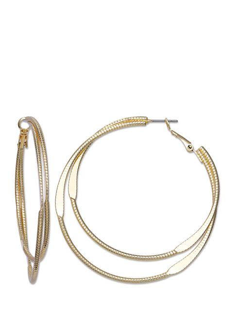 Jules B Gold Tone 2 Row Hoop Earrings
