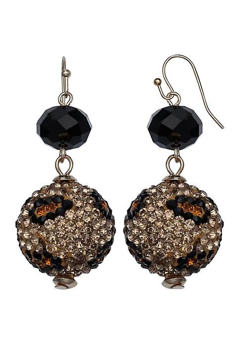 Jules B Pave Ball Double Drop Earrings
