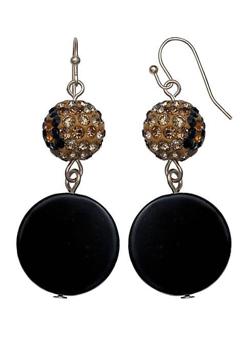 Jules B Pave Ball Shell Drop Earrings