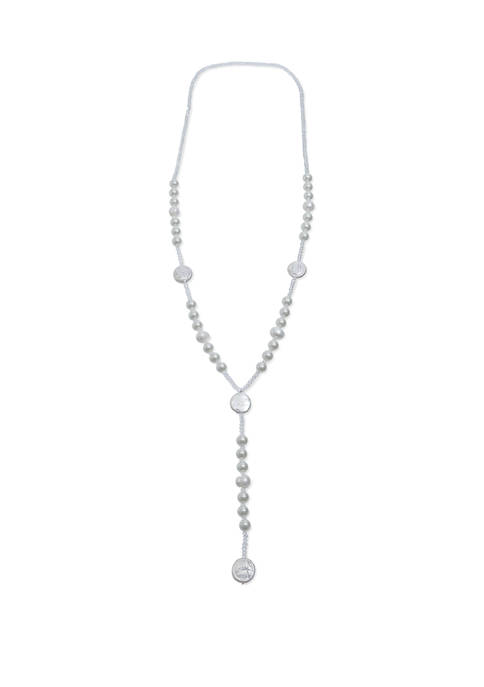Jules B Long Pearl White Y Neck Necklace