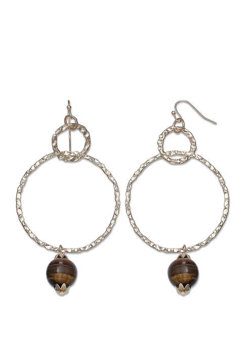 Jules B Lab Created Gold Tone Wire Hoop