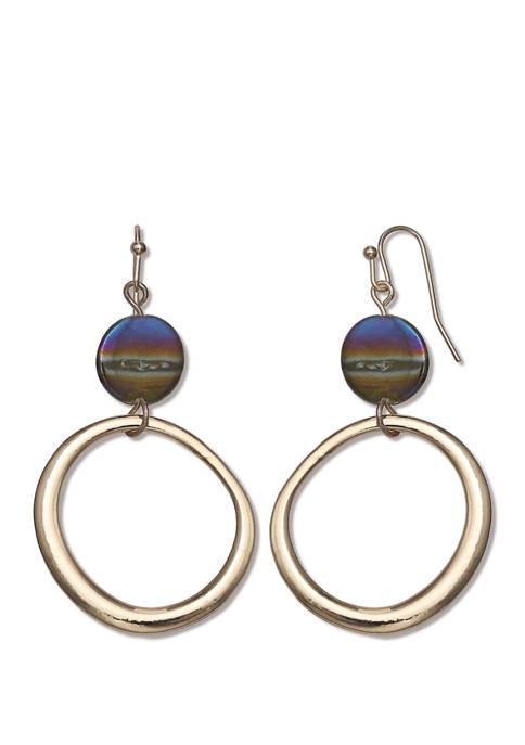 Jules B Lab Created Bead Hoop Drop Earrings