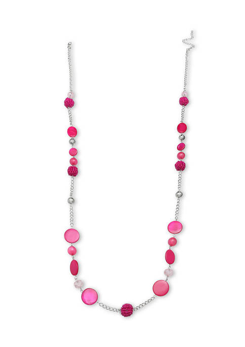Jules B Lab Created Pink Shell Long Necklace