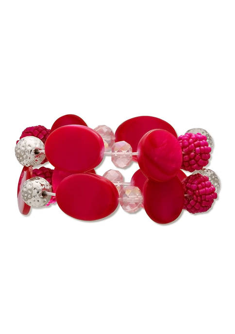Lab Created Pink Shell 2 Row Stretch Bracelet