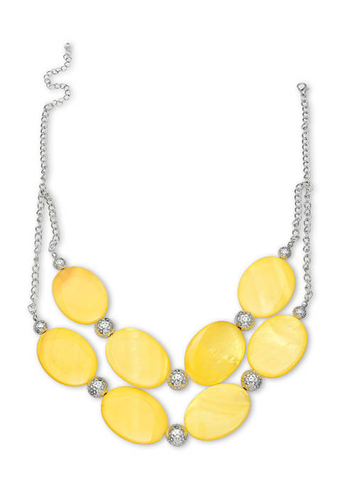 Lab Created Shell 2 Row Short Necklace